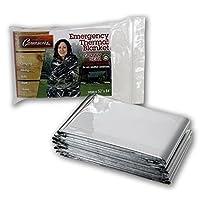 Grizzly Gear 应急保暖毯 - 聚酯薄膜防水防雨备救生毯 - 专为 NASA 设计 - 适用于露营、远足、狩猎、马拉松、急救等的多功能