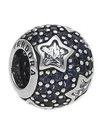 Pandora 潘多拉 深蓝色底星星装饰挂坠 粉色 女款 791382CZ(丹麦品牌 保税仓发货)(包邮包税)