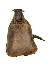 隐藏和饮料,皮革迷你中世纪小袋/钥匙扣/钥匙圈/夹子/硬币收纳/可爱礼物/配件,手工制作包括 101 年质保:波旁棕色