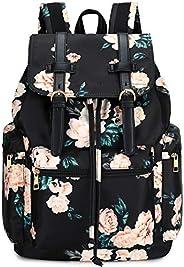 BLUBOON 帆布復古背包皮革裝飾休閑書包 男式女式筆記本電腦旅行背包