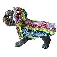 Yani's Gifts 巴哈斗篷狗狗衣服,温暖的狗狗Serape,舒适正品巴哈连帽衫,狗狗舒适 Jerga 斗篷,浅蓝色彩虹*地毯连帽衫 Light Blue, Multi-color 中