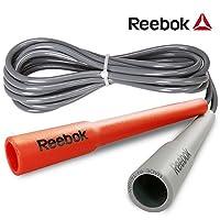 锐步(Reebok)进口跳绳双色环保PVC专业减肥3M可调节长短RARP-11081RD 红灰色
