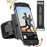 体育运动臂带 适用于 iPhone XR、XS Max、8、8 Plus、7、6、三星 Galaxy A8、S9、S8、S6 Edge、Note、LG、HTC;180° 可旋转手机臂夹男女可自由延长带(黑色) 黑色