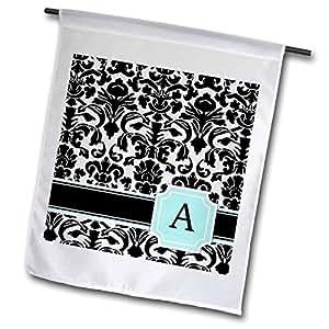 inspirationzstore monograms–字母 A PERSONAL 字母薄荷绿蓝色黑色和白色大马士革图案–Classy 个性化首字母–旗帜 12 x 18 inch Garden Flag