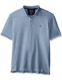 Nautica Men's Classic Short Sleeve Solid Polo Shirt Deep Anchor Heather Small