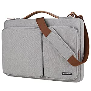 BRINCH 13.3 Inch Laptop Bag w/Luggage Strap,Mens/Womens Water Resistant Shoulder Messenger Bag 360¡ãProtective Laptop Sleeve Case Purse for 13-13.6 Inch Laptop MacBook Chromebook Computers,Grey