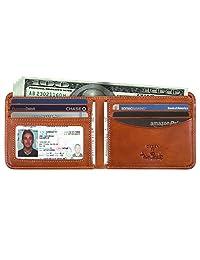 Tony Perotti 男式意大利牛皮经典双折钱包,带身份证窗口