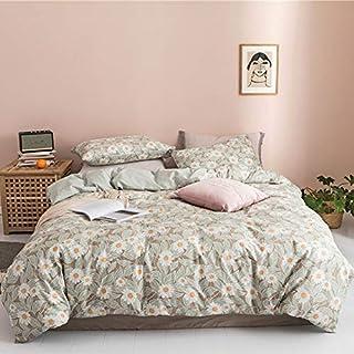 Floral Teens Bedding 女孩白色羽绒被套套装中号双人床 * 纯棉儿童花被套中号双人床适合女士成人 3 件*植物床上用品套装全套 2 个枕套,无被子