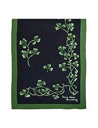 *蓝和绿色三叶草图案真丝围巾