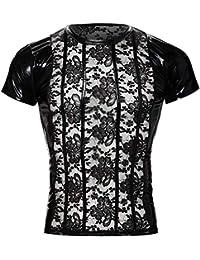Svenjoyment 男式内衣 21610361701 SVENJOYMENT 花卉蕾丝衬衫带潮湿外观,黑色,S 码,(Nero 001)