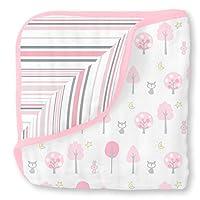 SwaddleDesigns 4 层棉纱毛毯,拥抱入梦、森林和条纹图案 粉色