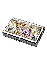 珍珠母彩色蝴蝶設計超長 100S 超薄大號雙人床 16 號香*雕刻金屬鋼 RFID 屏蔽保護信用卡美國賬單現金隔層收納盒