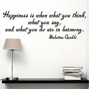 "mahatma gandhi "" Happiness IS when WHAT YOU Think "" wallstickers 乙烯基墙壁贴纸贴花"