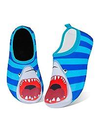 儿童水上游泳鞋赤脚水袜鞋快干防滑婴儿男孩和女孩 红鲸 11-11.5 Little Kid