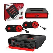 复古 bit 超复古 Trio 3合1游戏机红色 / 黑色 NES / snes / MEGA DRIVE PAL 版电子游戏 )
