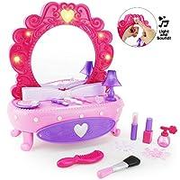 Boley 时尚化妆镜 - 38 件套玩具套装,带假装化妆品,适合小女孩,桌子带灯光音乐镜,假化妆品套装,发饰等! 适合小孩子和幼儿