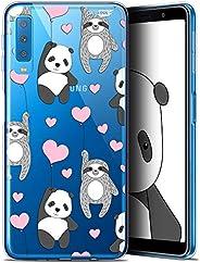 三星 Galaxy A7 (2018) A750 (6) 手机壳手机壳【水晶保护套凝胶高清系列甜美设计涂鸦心图案 - 灵活 - 超薄 - 法国印刷]CRYSPRNTA72018PANDABAL  Samsung Gala