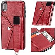IronSeals AQ 折疊卡槽皮革二合一手機套現金錢包帶彈性織帶帶,適用于 iPhone X/XR/XS MAX/Samsung Note 9 Samsung Note 9 紅色
