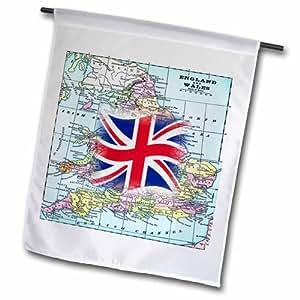 3dRose fl_204905_1 英格兰和威尔士印花英国国旗花园旗,30.48 x 45.72 cm
