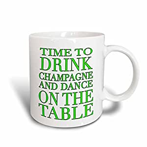 3dRose mug_163953_2 Time To Drink Champagne and Dance on The Table Lime Green Ceramic Mug, 15-Ounce