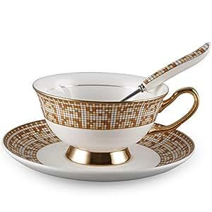 Neolith 皇家骨瓷茶套装勺和碟子套装 金色 7 oz