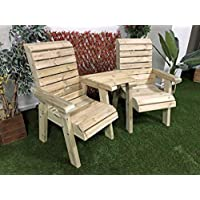 Churnet Valley 花园家具 CLOVER LOVE SEATS STRAIGHT TRAY,自然色