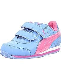 Puma 女童 Speed Light Up V(学步儿童/小童/大童)Marina 蓝色/紫红色/Meadow Mauve 运动鞋 2 小童 M 码