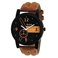 Relish Casual Analogue Tan Leather Strap Multicolour Dial Men's Watch RELISH-542