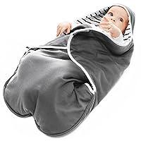 Wallaboo 婴儿毯 可可 超柔软 * 纯棉 多用途 适用于婴儿车或汽车座椅和旅行,新生儿至 10 个月,尺寸:35 x 28 英寸 灰色条纹
