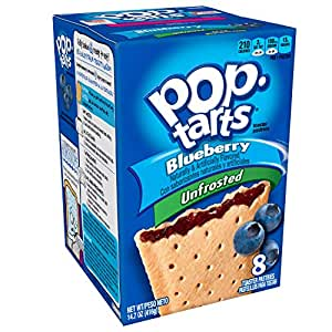 Pop-Tarts Breakfast Toaster Pastries, Unfrosted Blueberry Flavored, 14.7 oz, 8 count(Pack of 12)