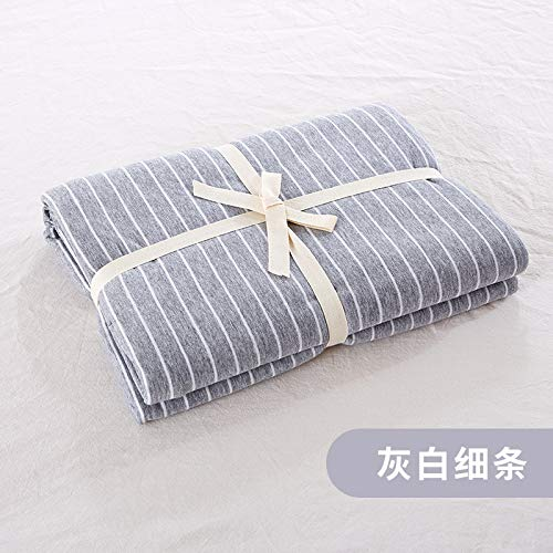 宝被 新疆天竺棉针织床笠单件床单简约纯色全棉纯棉1.5/1.8m床垫保护套 灰白细条 床单(200x230cm)
