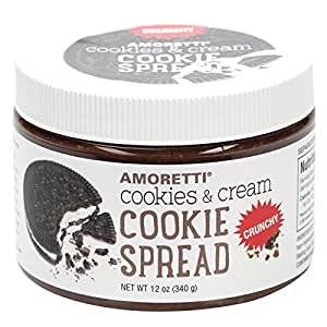 Amoretti Crunchy Cookie Butter Spread, Cookies & Cream, 12 Ounce