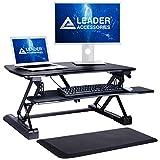 Leader Accessories 站立式桌子 - 包括舒适抗*垫 - 89.92 厘米宽桌面工作站适合双显示器,宽敞的键盘托架,高度可调节人体工程学坐立式转换器