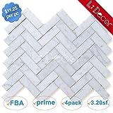 意大利 Carrara 白色人字呢 Carrera 马赛克瓷砖 Carrara White 1 x 3 in. Herringbone Honed 4PCS/CTN