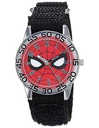 MARVEL 男童蜘蛛侠石英塑料尼龙休闲手表,颜色:黑色(型号:WMA000187)
