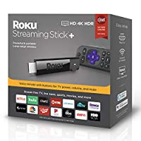洛库 Roku Streaming Stick+ | 4K/HDR/HD streaming player with 4x the wireless range & voice remote with TV power and volume (2017)