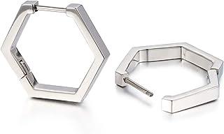 TGNEL 极简主义小号银色六角形几何环形耳环防*钛Huggie耳环耳钉男女适用