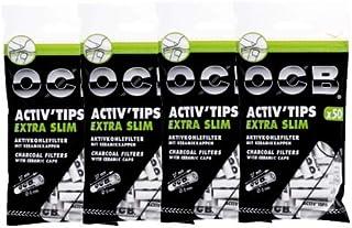 OCB 18577 ActivTips Extra Slim 6 毫米活性炭过滤器,带陶瓷盖,4 个袋,50 个 = 200 个过滤器,纸