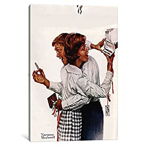 "iCanvasART They Gave Each Other A Parker 61 Pen Canvas Print by Norman Rockwell, 40 by 26""/0.75"" Deep"