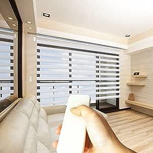 Taiwan Present Godear 设计斑马滚轴窗帘,电动遥控,隐私水平百叶窗 白色 33'' X 72'' MH-ZEBE0-NOR1-033CB1
