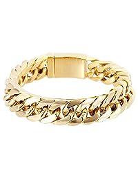 18K 金分层手链男式 14MM 高级时尚珠宝,抗锈蚀,美国制造 20.32 厘米