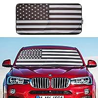 CCBaseball 汽车挡风玻璃遮阳罩,美国国旗阻挡紫外线可折叠遮阳板保护您的车辆凉爽且无损坏(黑色)