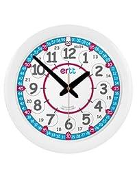 EasyRead Time Teacher 兒童紅藍色掛鐘,12 和 24 小時無聲移動。 學習時間只需 2 個簡單步驟,適合 5 歲以上兒童