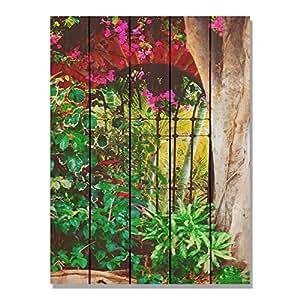Gizaun Art 西班牙花园内部/外部壁画,全彩雪松色 棕褐色 28-Inch by 36-Inch SG2836
