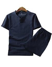Aboselon 艾伯森朗 夏装男士短袖棉麻套装 轻薄休闲男式套装 DYBM702