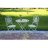 ASPECT Julien 法式风格 3 件套酒吧套装,1 个金属桌和 2 把椅子 - 古白,39.5 x 94 尺寸:70 直径 x 75(高)厘米