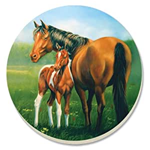 CounterArt Decorative Absorbent Coasters, Mare and Foal, Set of 4