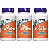 Now Foods Zinc Picolinate, 50 mg, 120 Capsules, 3 Pack