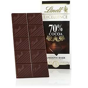 Lindt 瑞士莲 Excellence 70%可可顺滑黑巧克力,不含麸质,3.5盎司(100g)(12件装)