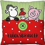 Sheepworld 45562 小毛绒靠垫 幸运 带羊 幸运蘑菇 小猪和刺绣纽扣 应用 22 厘米 x 22 厘米 装饰枕头 * 聚酯,绿色/白色/红色